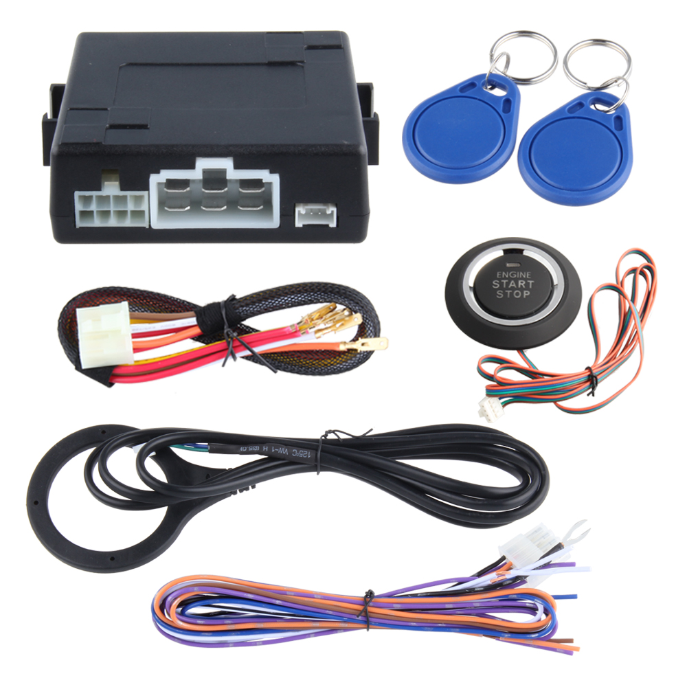 Universal RFID car alarm system with remote engine start stop, push button start stop, work with original car alarm(China (Mainland))