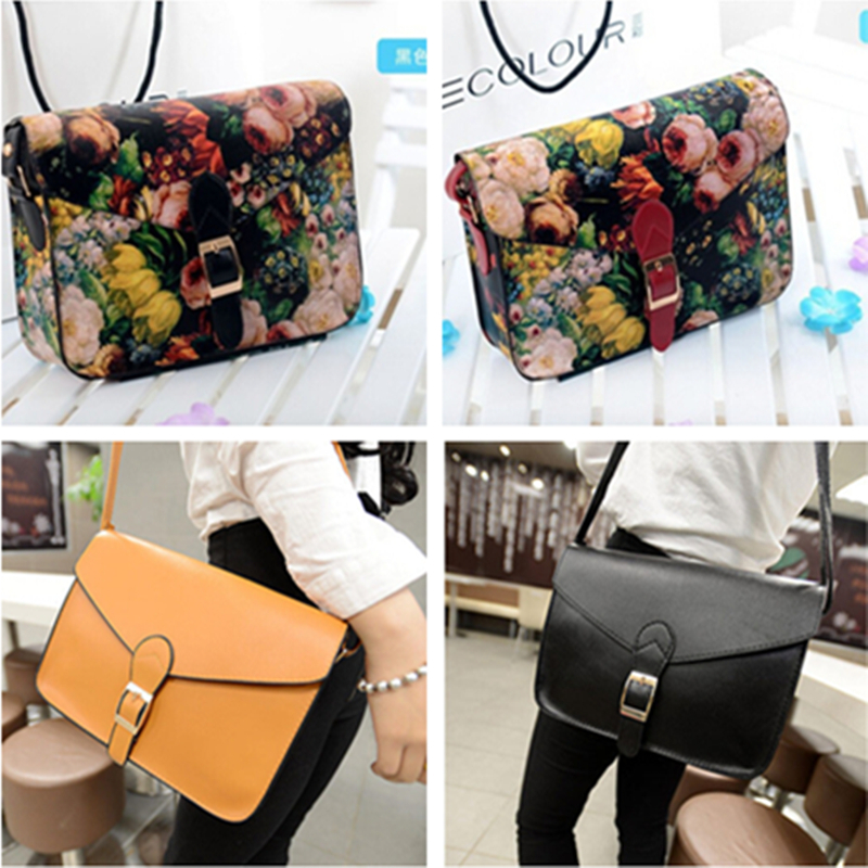 2015 NEW Womens Vintage Oil Painting Messenger Bag Girl Flower Printing Shoulder Bag Lady Multifunctin Handbag Purse 12 Colors(China (Mainland))