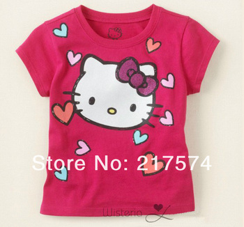 Wholesale Hello Kitty Girls 2013 clothing100% cotton fashion short sleeve t shirt hello kitty clothes 2 Colors Free Shipping