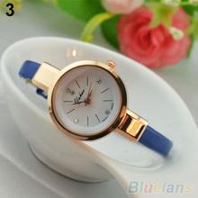 Women Ladies Candy Color Fashion Thin Leather Strap Quartz Bracelet Wrist Watch 2B3Z