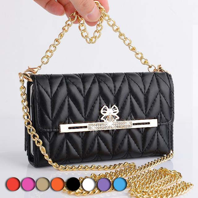 Top grade quality bowknot diamond buckle carry pouch shoulder bag pu leather For iphone 6 4.7 case short long gold chain handbag(China (Mainland))