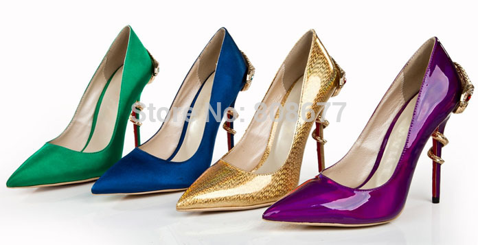 Hot Selling Mary Janes Fashion Lady High Heels Snake Pumps Pointed Toe Women Genuine Leather Dress Shoes