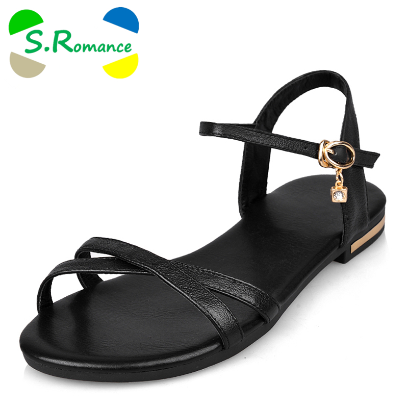 S.Romance Genuine Leather Women Flats Sandals Plus Size 34-43 New Fashion Casual Solid Buckle Strap Woman Shoes Beige SS602(China (Mainland))