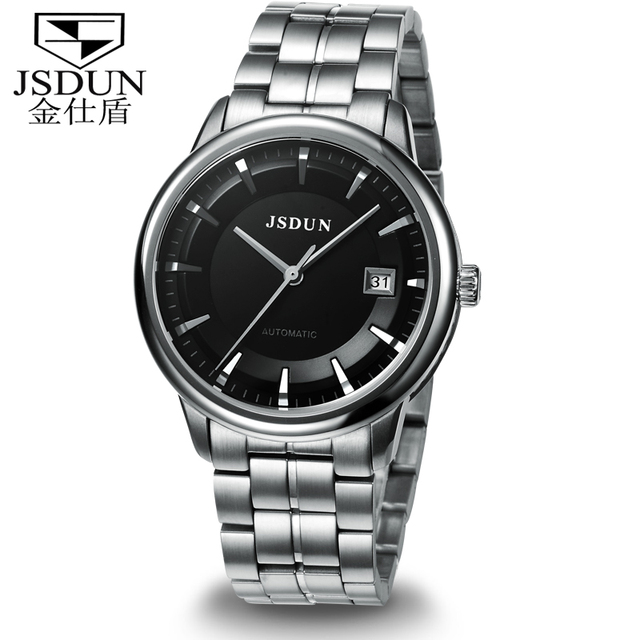 JSDUN Vintage Fully Automatical White Grade Stainless Steel Dress Wrap Gift Casual Self Wind Men's Mechanical Wrist Watch 8753