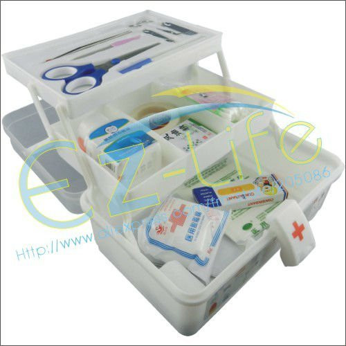 Big size First aid kit box with makeup tool free, home emergency medical organizer case, plastic storage box