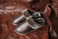 полное зерно кожа Крытый теплые тапочки скольжения снизу Главная обувь Тапочки 1 пара хорошего качества