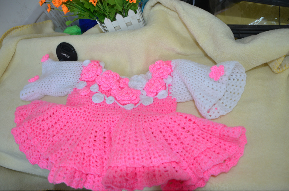 Wholesale baby clothes, baby clothes, children's knitted baby dress skirt princess dress(China (Mainland))