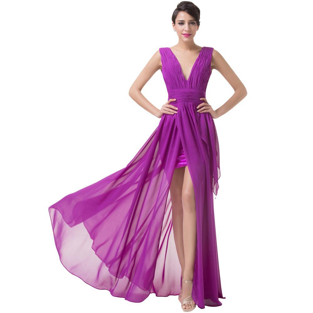 sexy purple prom dress sexy slit evening dresses 2016