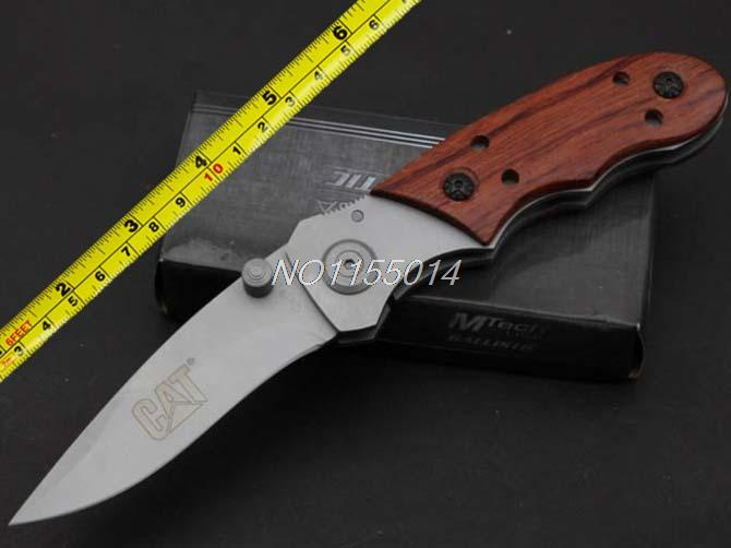 Red wooden pocket hunting knifes folding tactical survival knife hard degree 55 HRC titanium coating knife