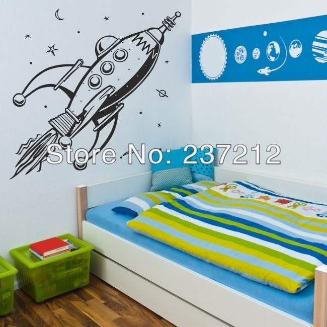 Free Shipping ROCKET wall sticker space boys bedroom stickers art vinyl kids name stars decal(China (Mainland))