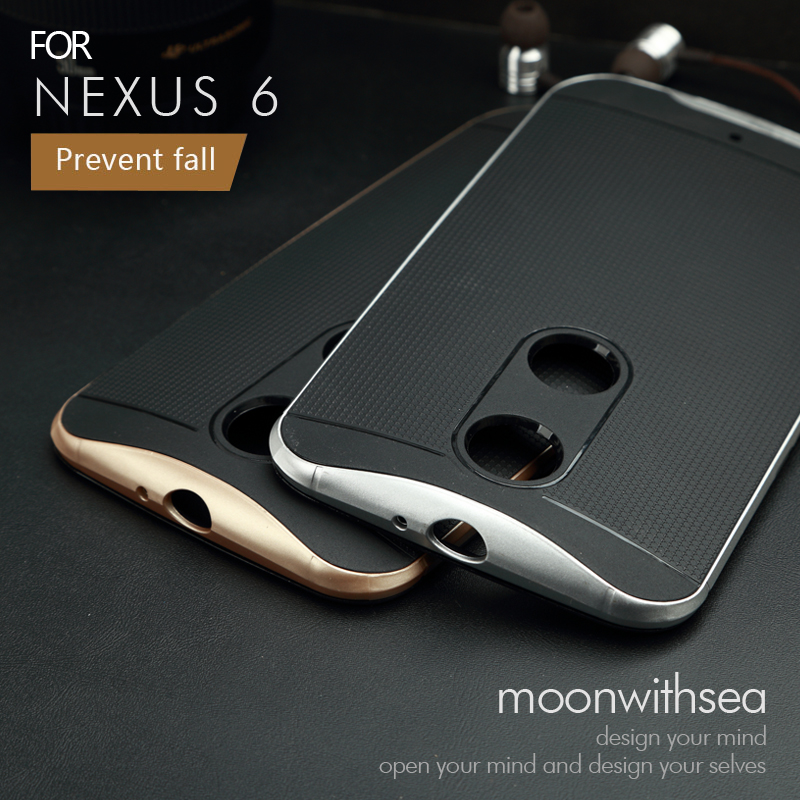 Nexus 6 Case (5.96 inch) Amazing 2 in 1 design PC+silicone material luxury mobile phone back cover for Motorola Google Nexus 6(China (Mainland))