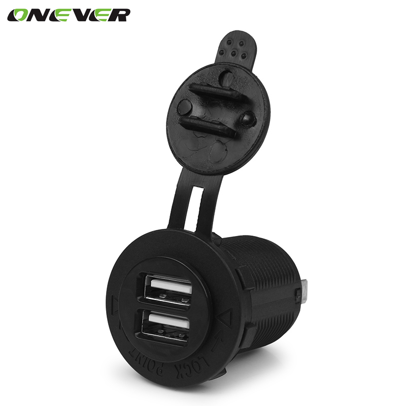 Auto Motorcycle Dual USB Socket Charger Power Adapter Outlet Power Mobile Phone Charger for Car Truck Motorcycle ATV Boat(China (Mainland))