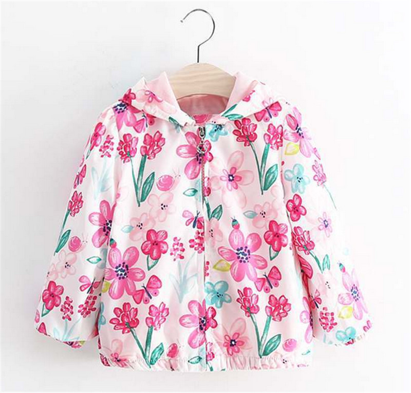Jackets For Girls 2016 Spring Cute Flower Printed Children Kids Jackets Pink Girls Outerwear Coats Baby Girls Clothes 1-6y(China (Mainland))