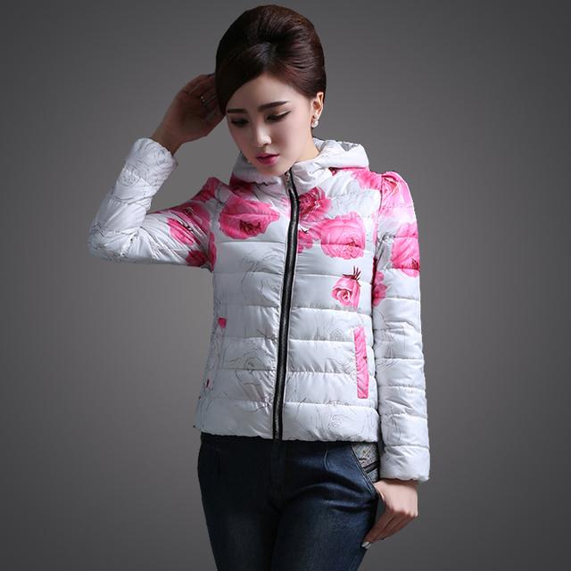Snowka утолщаются 2015 зимняя куртка женщин оригинальный дизайн печать цветы молнии ...