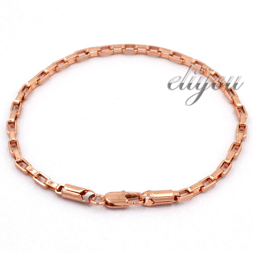 3mm New Fashion Jewelry Mens Womens Box Link Chain 18K Rose Gold Filled Bracelet Gold Jewellery Free Shipping C12 RB(China (Mainland))