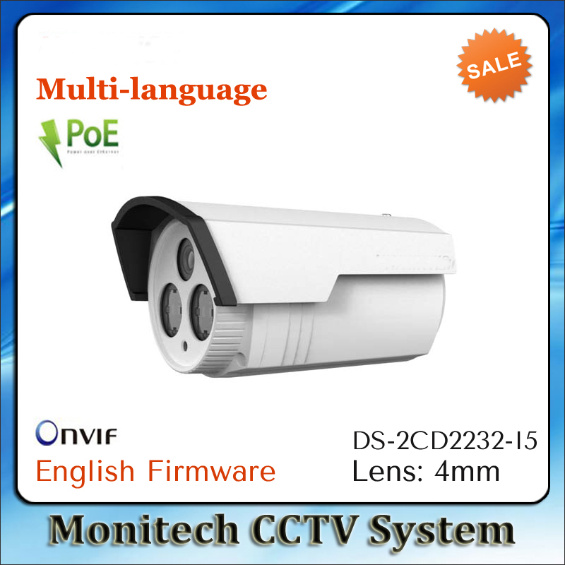 HIK Multi-language DS-2CD2232-I5 Support ONVIF POE 3MP IR 50m 1080P Outdoor IP66 Network CCTV Camera Home Security IP Camera(China (Mainland))