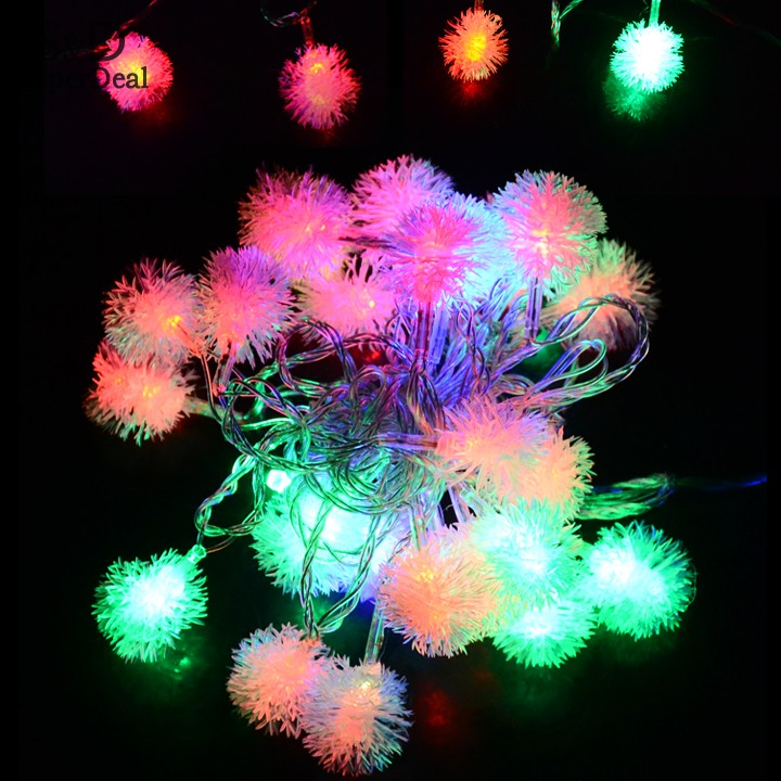 5M 28 LED twinkl Light Fuzzy Ball Christmas Tree String Fairy Light Xmas Party Wedding Decoration 100-240V US Plug 29<br><br>Aliexpress