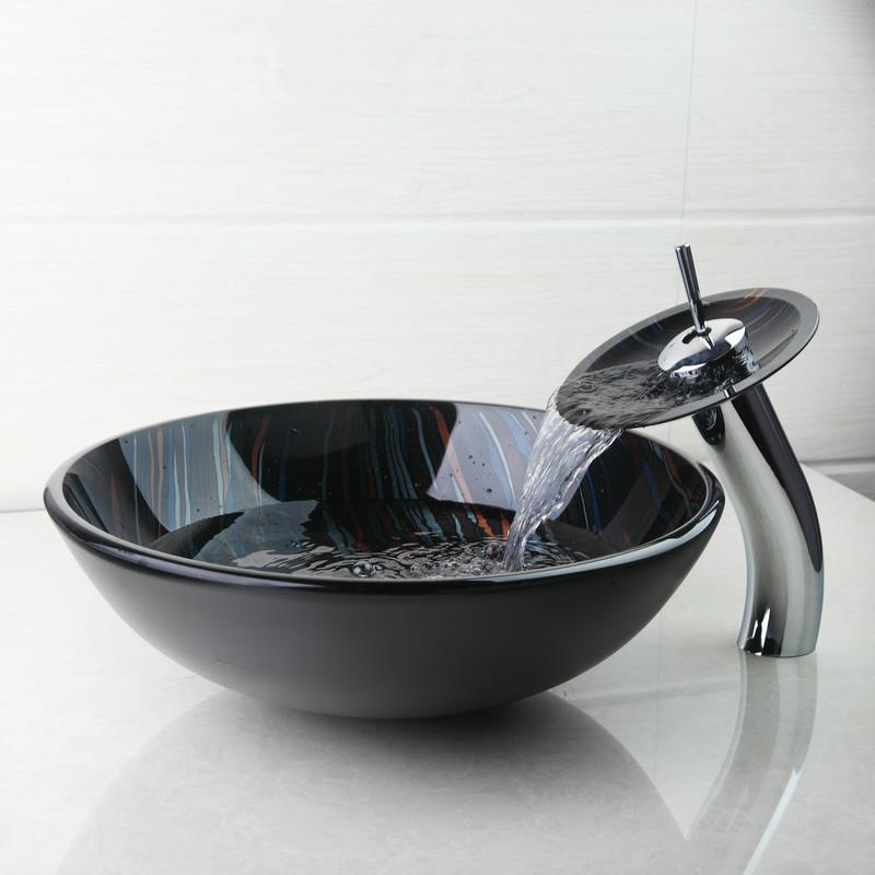 YANKSMART Bathroom Sink Set Hand Painting Tempered Glass Basin Bowl ...
