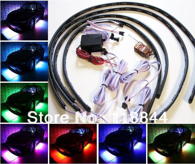 "4pcs/set 36""*2 & 48""*2 7 Colors Wireless Remote & Music Activated RGB car LED Strip Car Decorative Underbody Neon Lights Kit(China (Mainland))"
