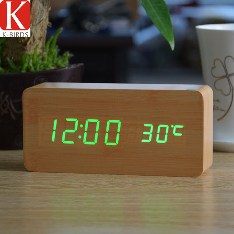 Home decor Vintage Desktop Clocks with three alarm Group,LED silent clocks digital watch board,Bedroom wooden bamboo despertador(China (Mainland))