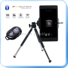 Black 1/4 Screw Metal Mini Tripod + Bluetooth Remote Shutter + Phone Holder Clip For Galaxy S3 S4 S5 Note3 iPhone 4s 5s 6s Plus