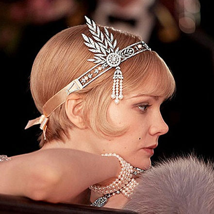 Big Promo Hot sale Wedding tiara The Great Gatsby DAISY Crystal Pearl Tassels Headband fashion hair