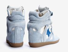 Isabel Marant 100 Original Wedge High Heel Sneakers Cowboy pentagram Suede Leather Boots