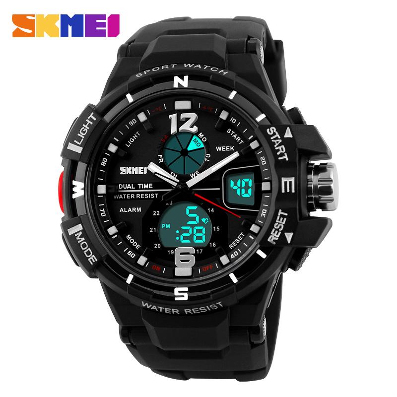 SKMEI Mens LED Digital Quartz Watch Men Sports Watches Dual Time Fashion Relogio Masculino Clock Outdoor Military Wristwatches<br><br>Aliexpress