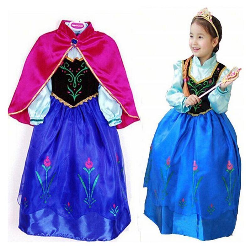 2016 New girls Elsa & Anna Costume Dress For Girl Princess Dresses Party Costume Fairy Tale Dress(China (Mainland))