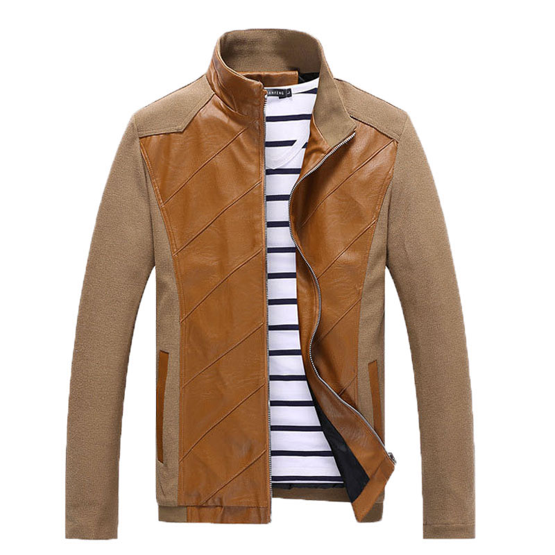 Korea Style Washed PU Leather Jacket and coat Stitching ...