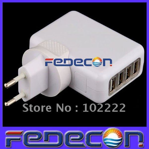 4 USB Ports Wall Charger with EU Plug for iPad iPhone 2G 3G 3GS 4G 4S iPod Touch 4G, Samsung i9100 i9300, Free Shipping