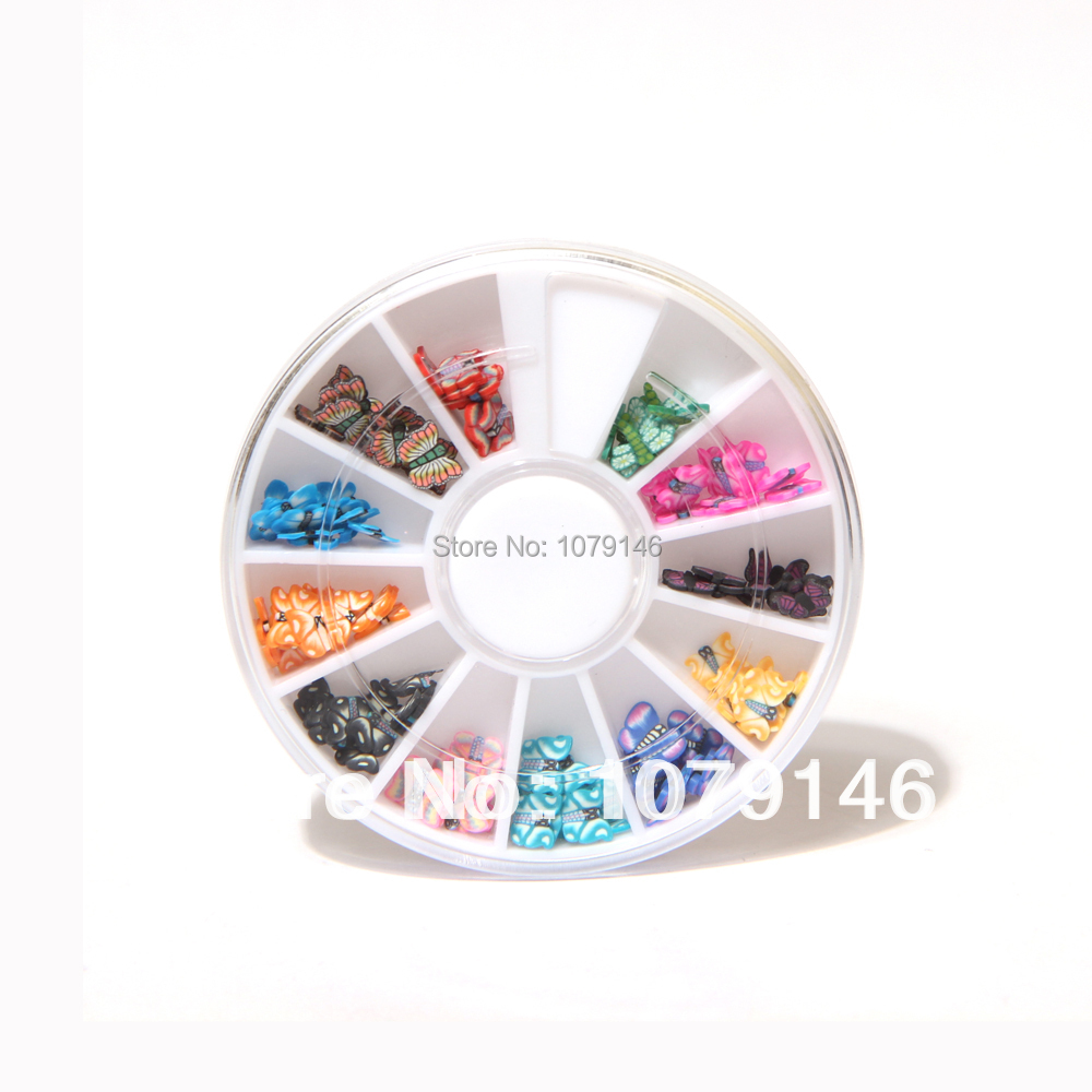 12 Colors 3D Butterfly Shaped Nail Art Fimo Slices Decal Pieces Decoration - Over Feel Shopping store