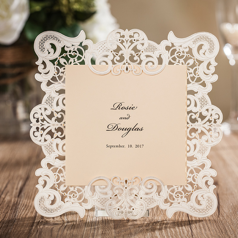 2016 New Free shipping 25pcs/lot white laser cut wedding invitations RSVP cards wedding supplies(China (Mainland))