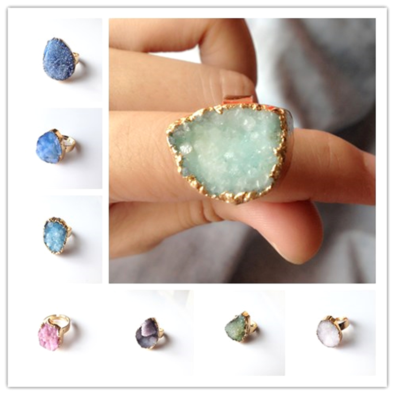 2015 Top Selling Colorful Natural Stone Gold Plated Rings Druzy Drusy Agate Crystal Anillos Gem Vintage Brand Ring For Women(China (Mainland))