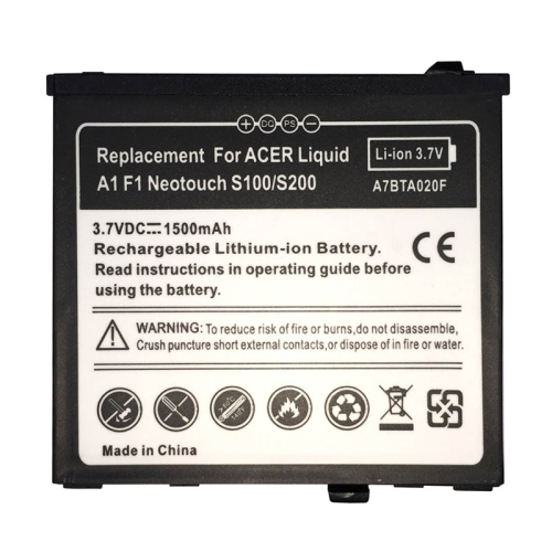 1500mAh Rechargeable Replacement Li-ion Battery for Acer Liquid A1 F1 Neotouch S100 / S200(China (Mainland))
