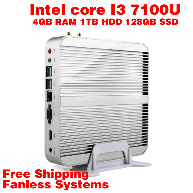 Mini PC Intel 7e Gen Kaby Lac Windows 10 i3 7100U 4GB RAM 1TB HDD 128GB SSD Graphics 620 300 M Wifi TV Box Free Shipping usb(China (Mainland))