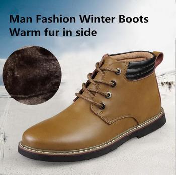 2015 зима новое поступление высокое качество марка дизайн парня из натуральной кожи теплые мода сапоги большой размер бесплатная Delivry оптовая продажа