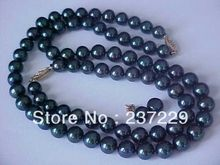 Wholesale price FREE SHIPPING ^^^^ SET OF 9-10MM AAA GENUINE BLACK PEARL NECKLACE, BRACELET & EARRINGS SOLID 14K(China (Mainland))