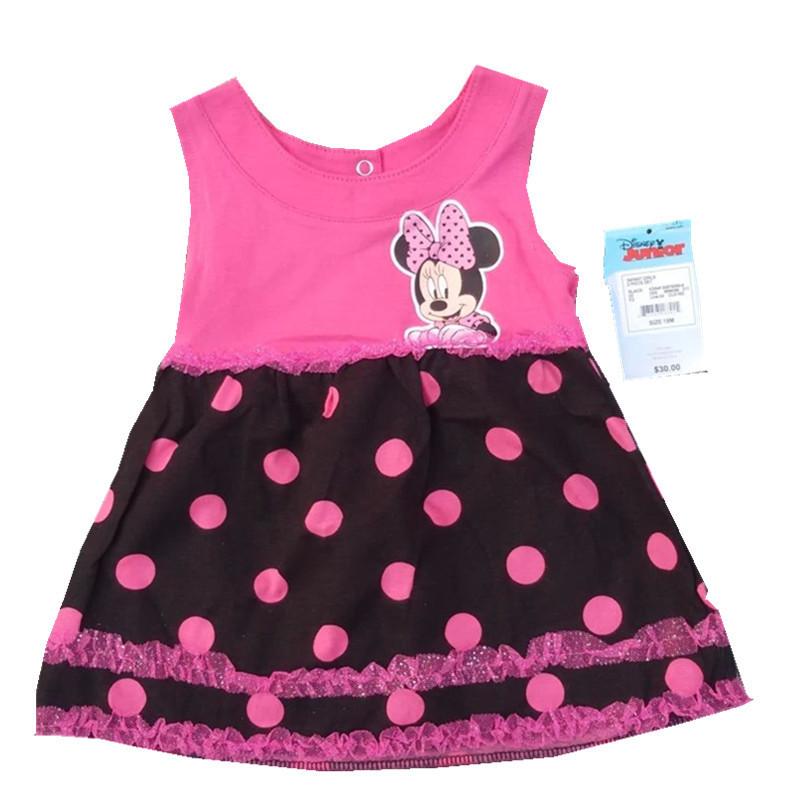 4-6X years dress Disn* 2015 original brand,minnie mouse dress cute baby girls dress for summer 4PCS/LOT