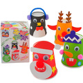 Baby toys Christmas Santa Claus reindeer snowman cups Creative Fun handmade DIY materials kit kids paper