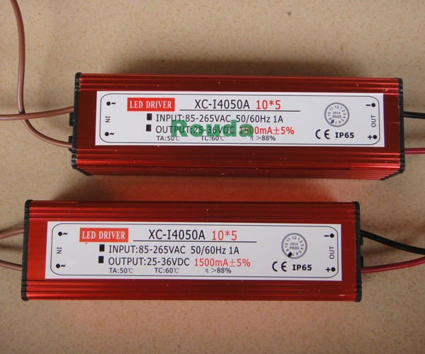 high quality led driver 50w 1500mA power supply LED waterproof power supply( 10 series 5 parallel) 2years warranty(China (Mainland))