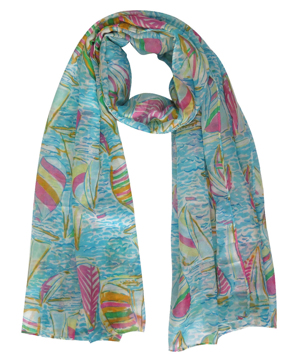 sailboat on sea print s large scarf wrap