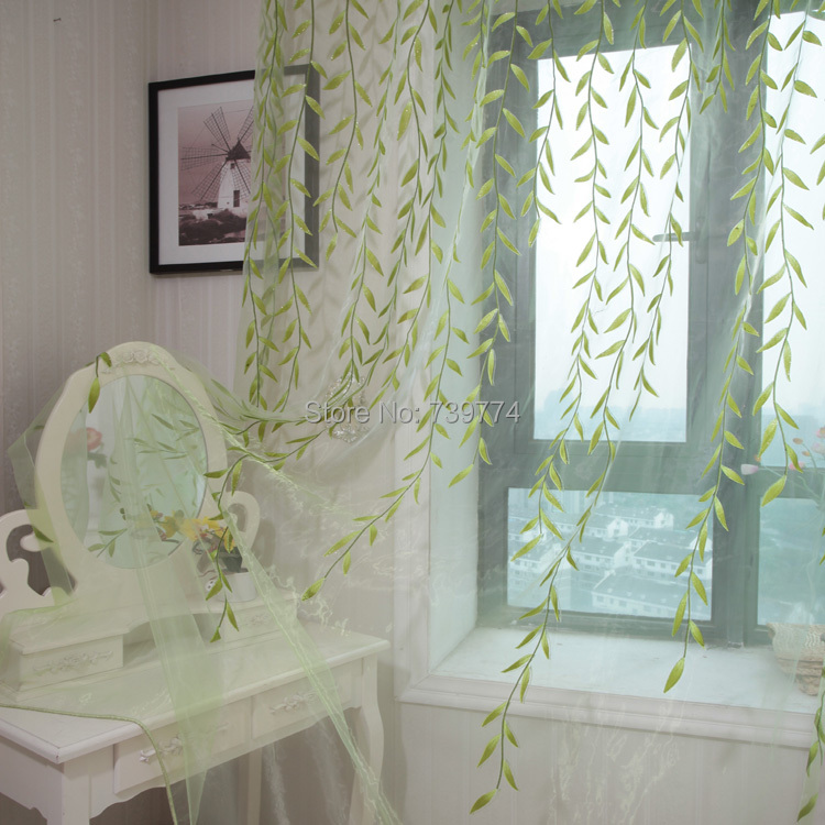 Rustic curtain window screening customize finished products balcony green leaf make you feel fresh(China (Mainland))