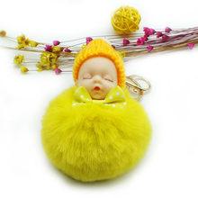 Bonito do Sono Do Bebê Boneca Chaveiro Saco Chave Titular Pingente imitação de Pele De Coelho Bola Pompom Chaveiro Carro Chaveiro Charme jóias(China)