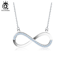 2016 AAA Sensible Austrian CZ Infinity Pendant Silver Plated Necklace for Ladies/Lover Style Jewellery Present ON112