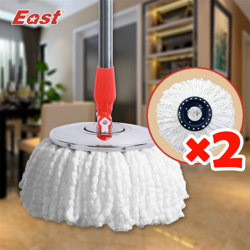 EAST 360 spin mop head High quality Magic Spin Mop Bucket No Foot Pedal Rotate 360 Degree with 2 heads cleaning mop head(China (Mainland))