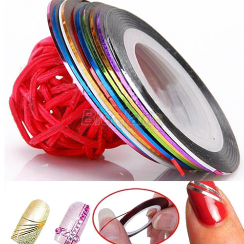 10 Color /bag 20m Rolls Nail Art UV Gel Tips Striping Tape Line Sticker DIY Decoration 00MB(China (Mainland))