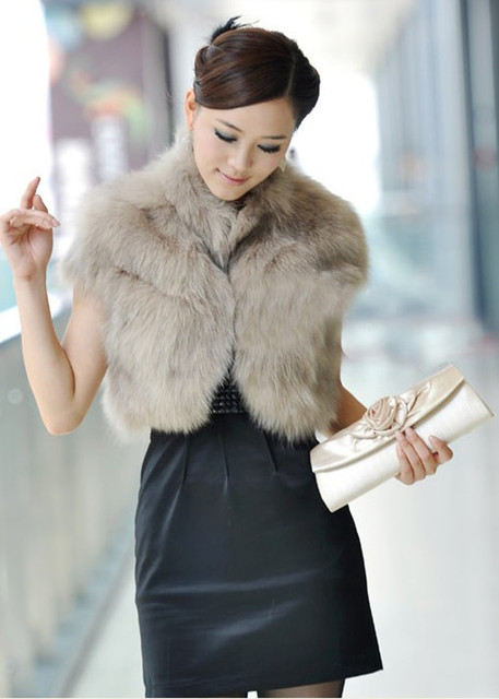Free shipping-new fashion fur vest fur coat short design outerwear womens