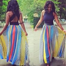 2016 New Spring Summer Europe Skirt Women Vintage Fashion Striped Print Chiffon Skirt High Waisted Plus Size Long Skirts