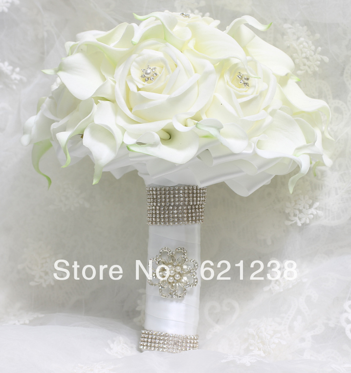 Bridal Bouquet Calla Lilies And Ivory Roses Duo Include Flower